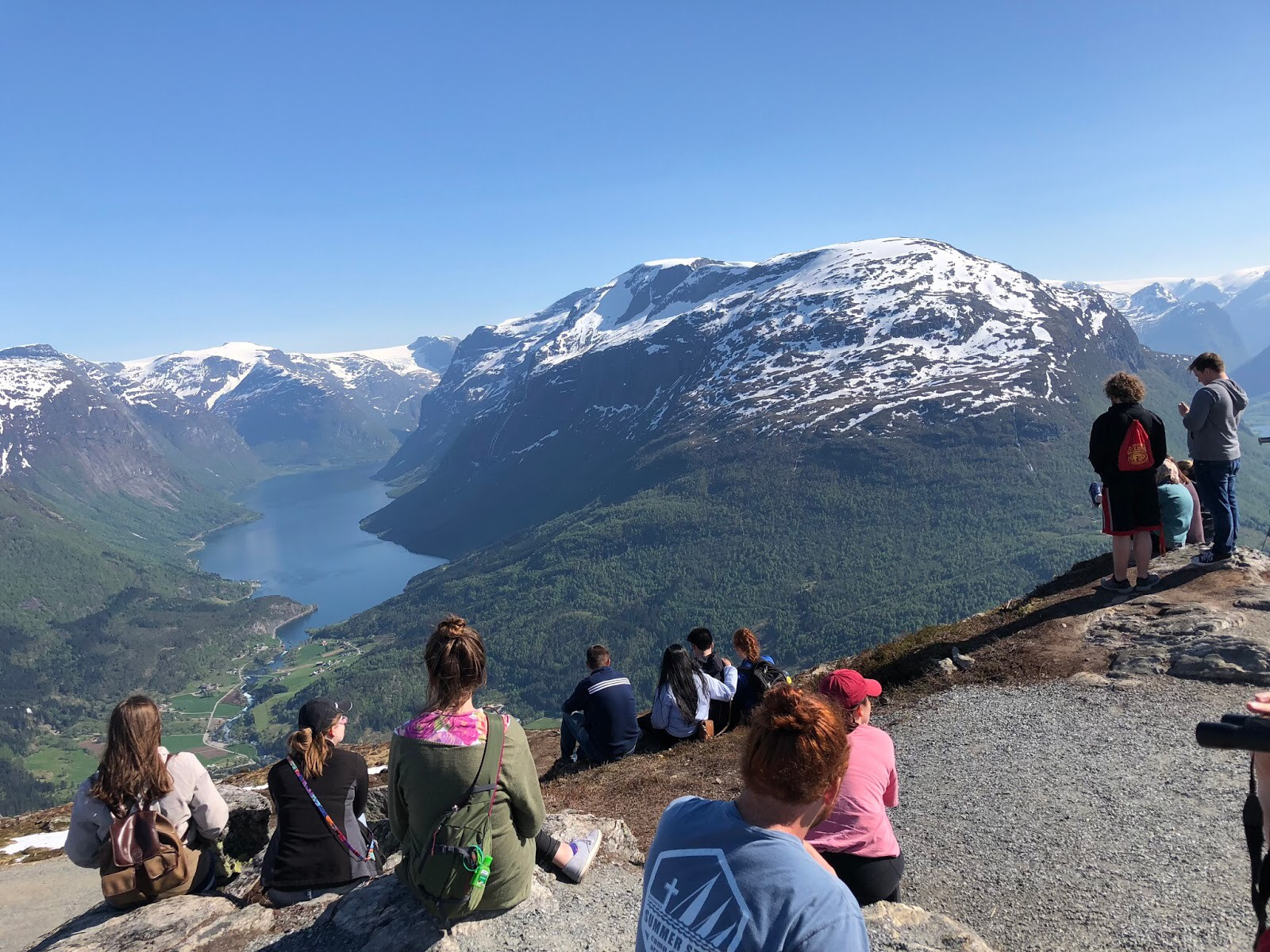 Students gathered on a mountaintop