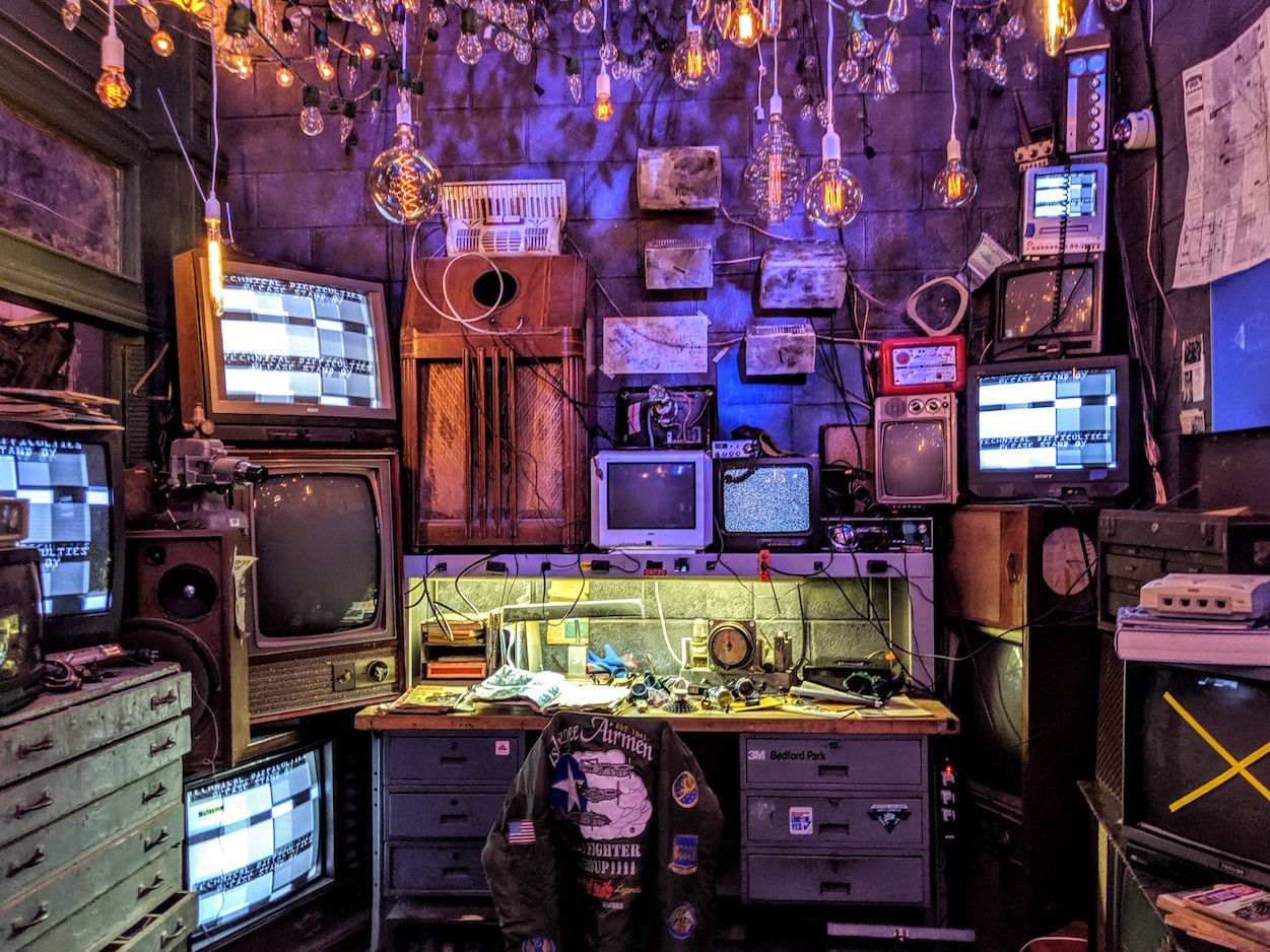 """Retro TVs as part of the exhibit for """"Nevermore Park"""""""