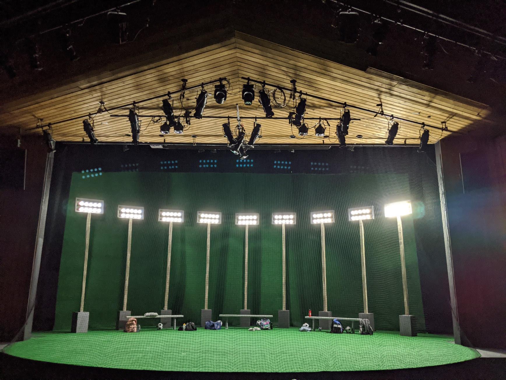 Soccer field theatre set