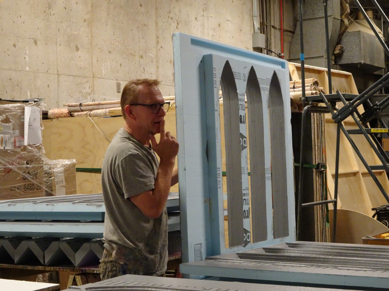 Rob Sunderman works on the campanile-carillon model.