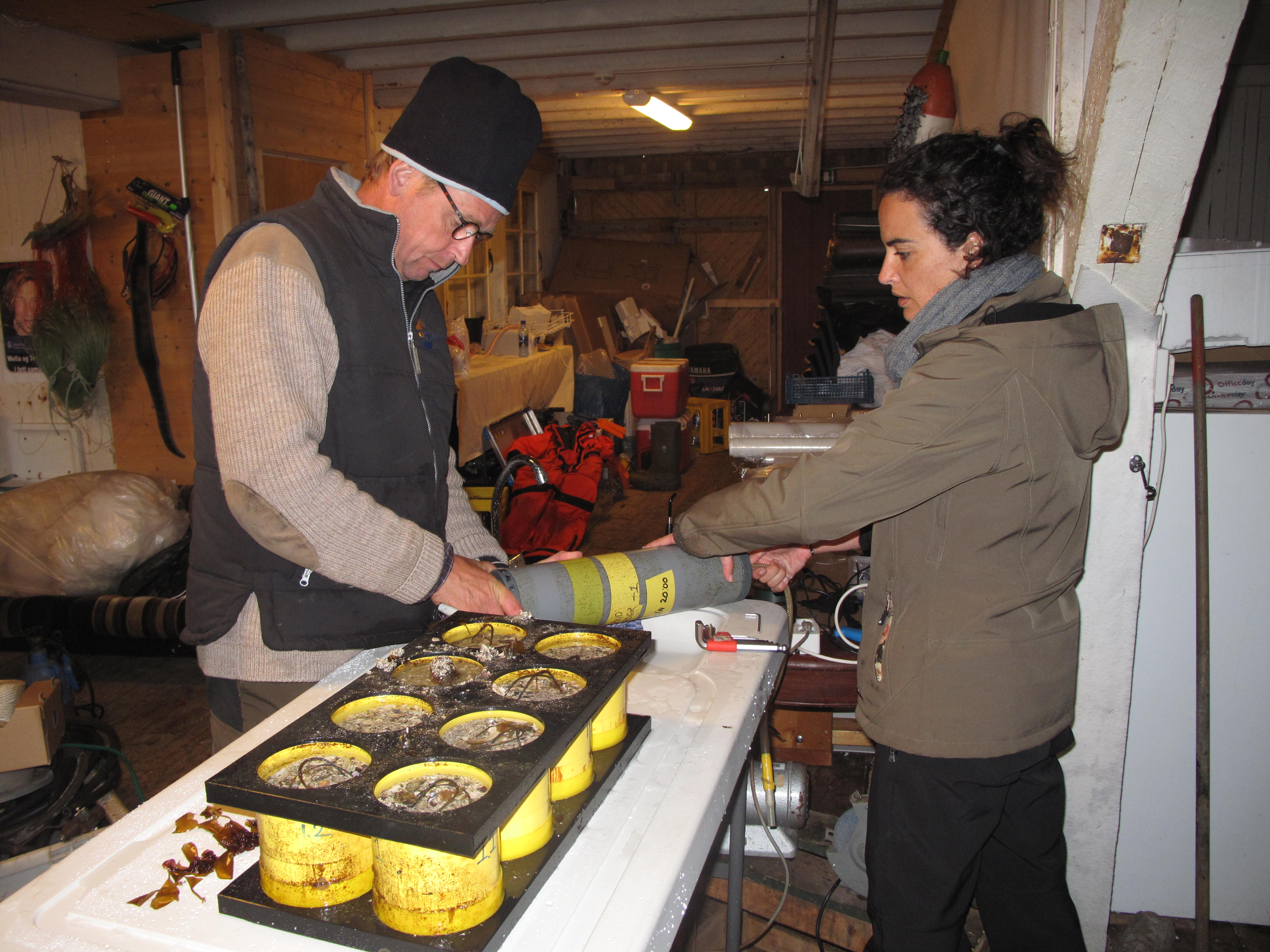 Rob and Irene prepare the lander equipment