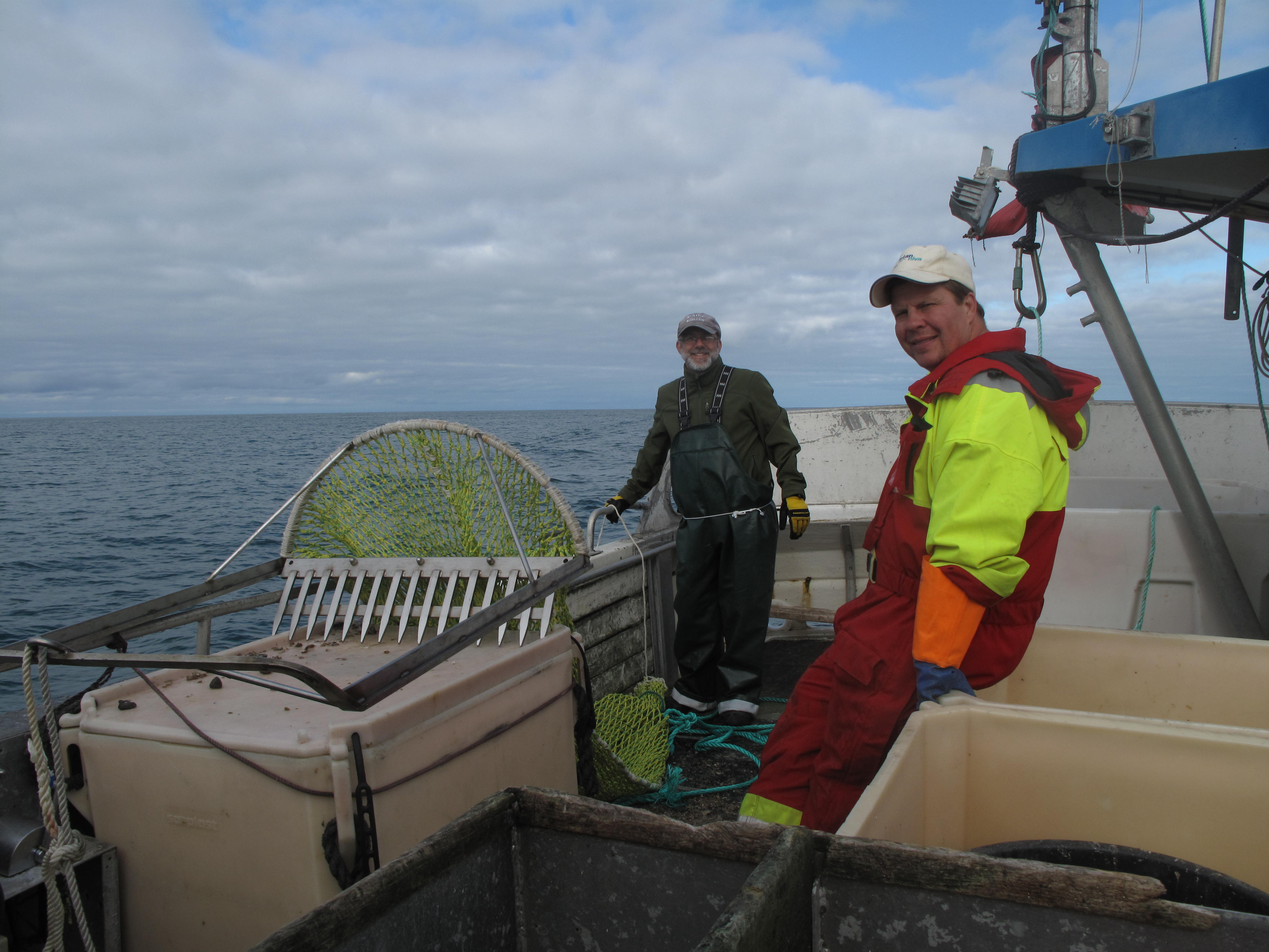 Al and Michael wait until we are in position before dropping the dredge overboard