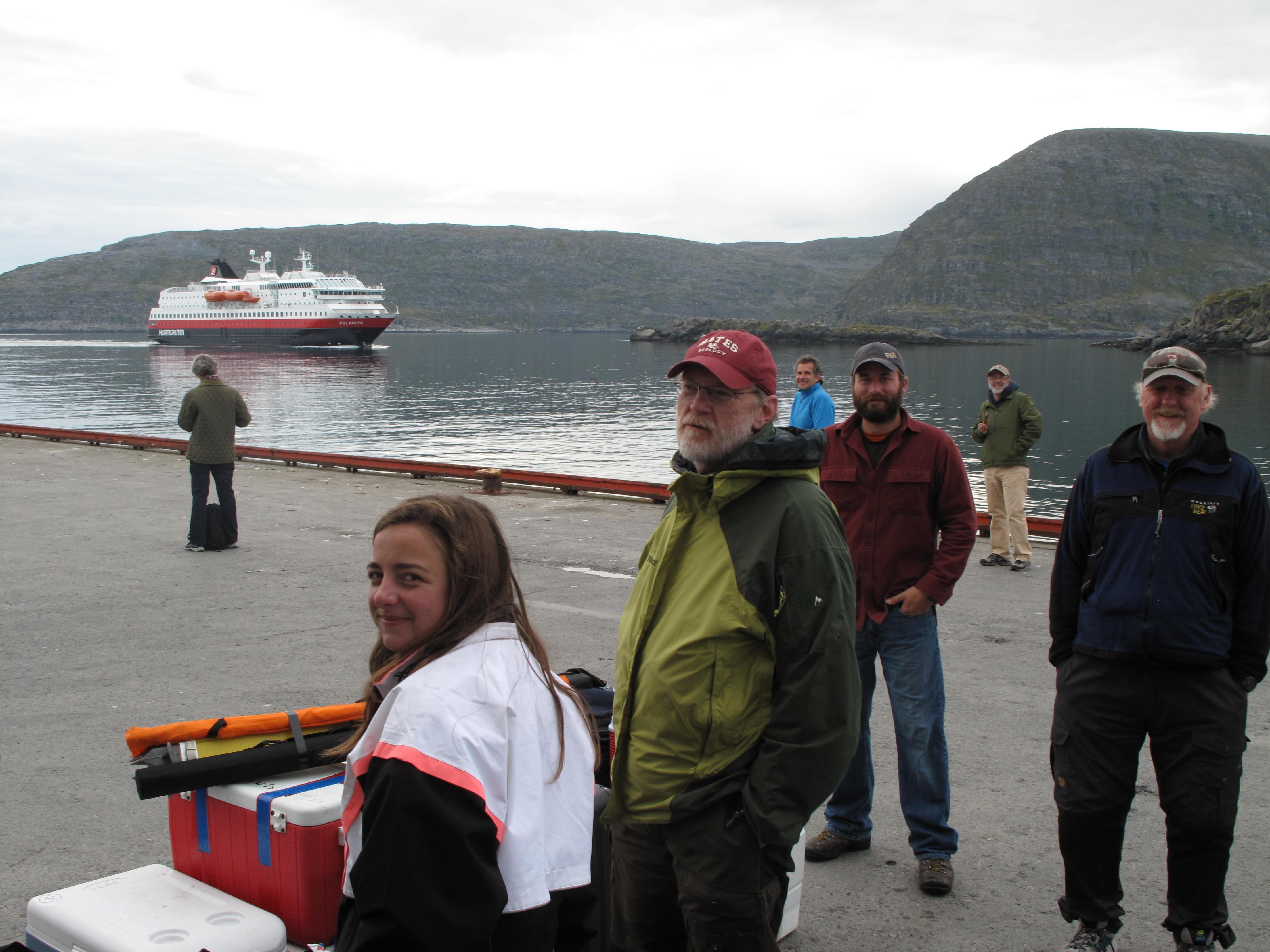 The crew and gear await the Hurtigruten.