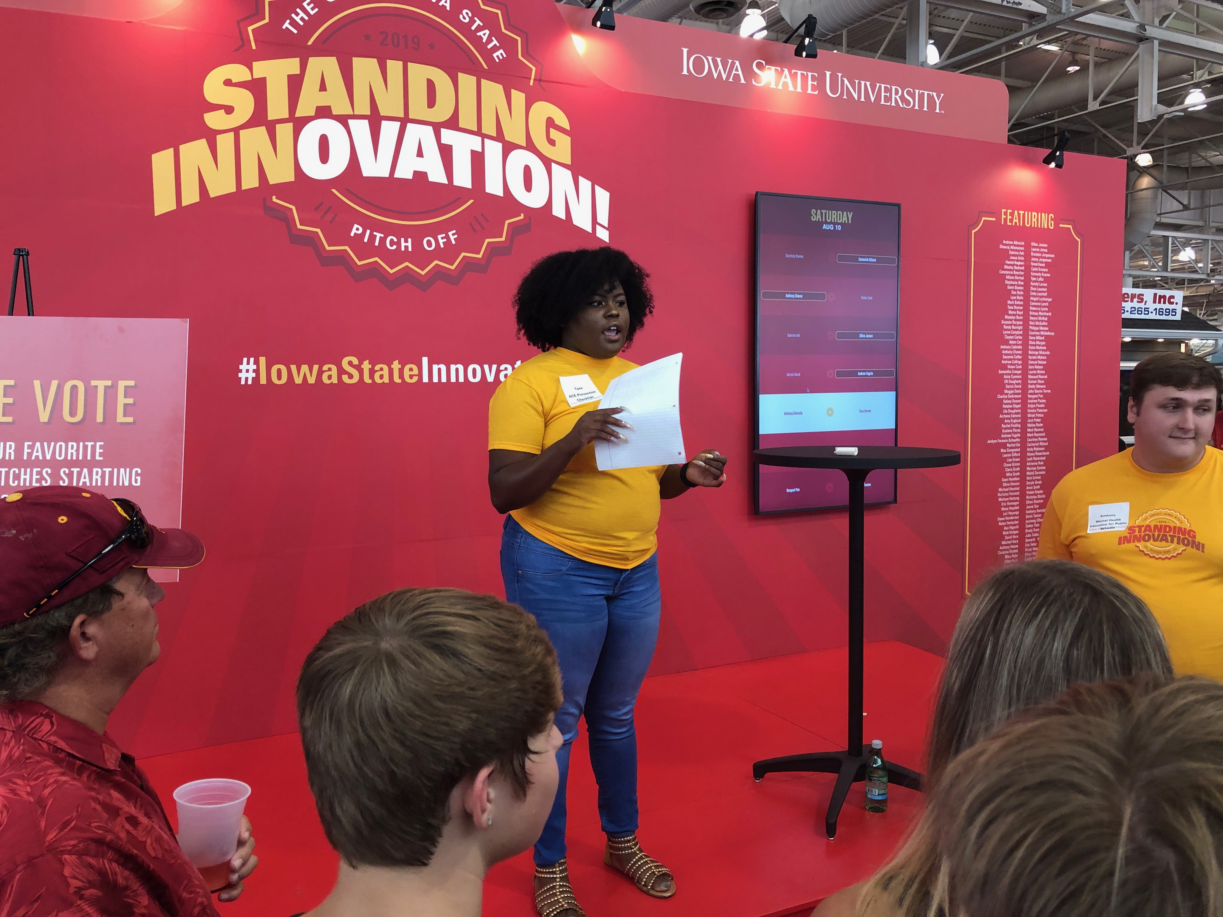 Taea Bonner ('20 criminal justice) participates in the Pitch Off Competition at the Iowa State Fair.
