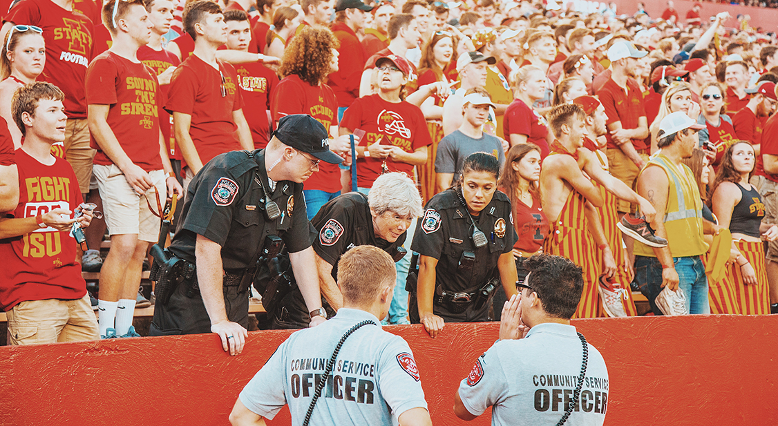Police at an ISU football game
