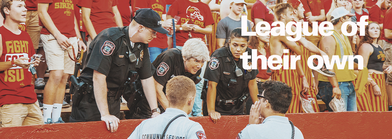 Police officers a ISU football game