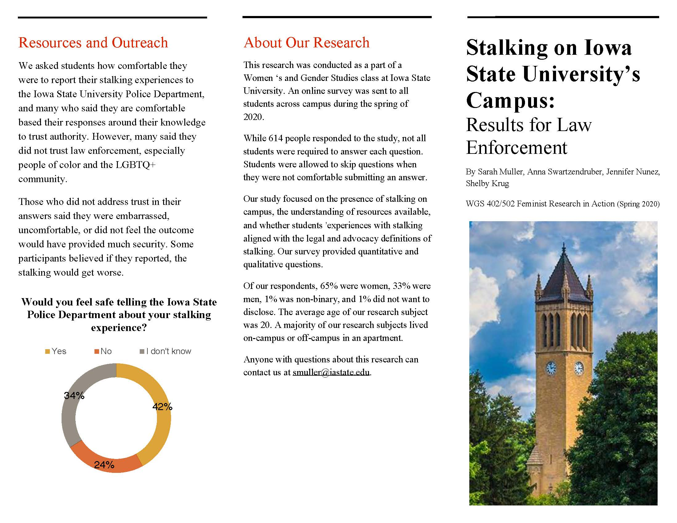 brochure about stalking