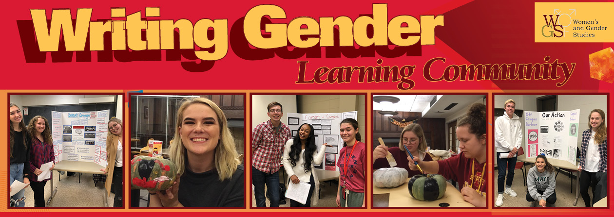 banner image with five photos of students giving presentations and painting pumpkins